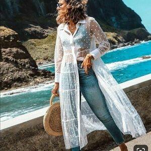 ZARA white tulle polka dot dress sheer L like new